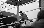 Ali vs Lewis Fight, Croke Park,Dublin.<br /> 1972.<br /> 19.07.1972.<br /> 07.19.1972.<br /> 19th July 1972.<br /> As part of his built up for a World Championship attempt against the current champion, 'Smokin' Joe Frazier,Muhammad Ali fought Al 'Blue' Lewis at Croke Park,Dublin,Ireland. Muhammad Ali won the fight with a TKO when the fight was stopped in the eleventh round.<br /> <br /> Image shows Ali beginning to take control of the flight as he hits Lewis with a swinging right.