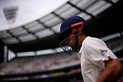 Alistair Cook walks onto the field to bat at the start of day three of the Australia v England fourth test at the Melbourne Cricket Ground, Melbourne, Australia on 28 December 2017. Photo by Mark  Witte.