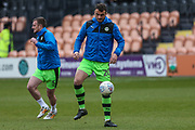 Forest Green Rovers Farrand Rawson(20) warming up during the EFL Sky Bet League 2 match between Barnet and Forest Green Rovers at The Hive Stadium, London, England on 7 April 2018. Picture by Shane Healey.