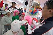 Sinchon area. Masked kids.