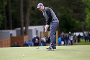 Manchester United  football legend Paul Scholes putt on its way during the BMW PGA Championship Celebrity Pro-Am Day at the Wentworth Club, Virginia Water, United Kingdom on 25 May 2016. Photo by Simon Davies.
