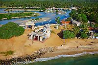 Sri Lanka, province de l'Est, Trincomalee, Salli Muthumariamunam Kovil, temple hindou en bord de mer, vue aerienne // Sri Lanka, Ceylon, Eastern Province, East Coast, Trincomalee, Salli Muthumariamunam Kovil, hindu temple oceanfront, aerial view