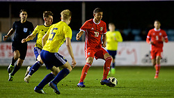 RHYL, WALES - Wednesday, November 14, 2018: Wales' Brennan Johnson during the UEFA Under-19 Championship 2019 Qualifying Group 4 match between Wales and Scotland at Belle Vue. (Pic by Paul Greenwood/Propaganda)