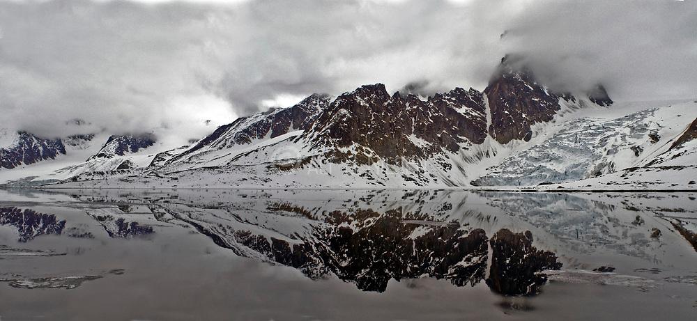 Dramatic panorama from Raudfjorden, northern Spitsbergen, Svalbard.