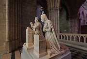 Kneeling figures on the funerary monument of Louis XVI, 1754-93, and Marie Antoinette, 1755-92, made 1830, in the Chapelle Saint-Louis, in the Basilique Saint-Denis, Paris, France. The ashes of the king were transferred here in 1815. The basilica is a large medieval 12th century Gothic abbey church and burial site of French kings from 10th - 18th centuries. Picture by Manuel Cohen