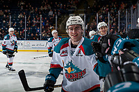 KELOWNA, CANADA - FEBRUARY 23:  Dillon Dube #19 of the Kelowna Rockets smiles as he fist bumps the bench to celebrate a goal against the Seattle Thunderbirds on February 23, 2018 at Prospera Place in Kelowna, British Columbia, Canada.  (Photo by Marissa Baecker/Shoot the Breeze)  *** Local Caption ***