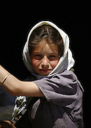 Yemen, blonde Amran girl wearing a white scarf.