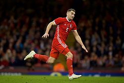 CARDIFF, WALES - Thursday, October 11, 2018: Wales' Sam Vokes during the International Friendly match between Wales and Spain at the Principality Stadium. (Pic by David Rawcliffe/Propaganda)