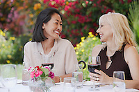 Two smiling women sitting at table holding wine glasses