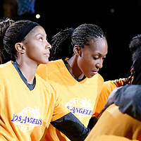 22 June 2014: forward/center Candace Parker (3) of the Los Angeles Sparks and forward/center Sandrine Gruda (7) of the Los Angeles Sparks are seen prior to the San Antonio Stars 72-69 victory over the Los Angeles Sparks, at the Staples Center, Los Angeles, California, USA.