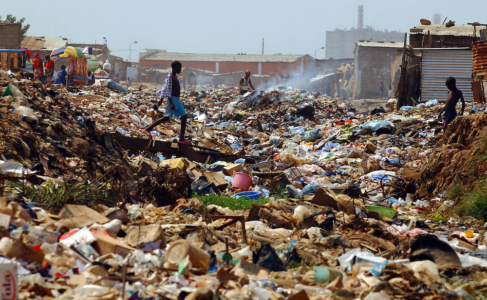 Unsanitary living conditions which are a breeding ground for mosquitos in Luanda, Angola