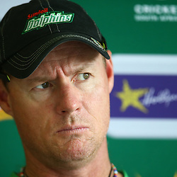 Durban South Africa - December 2: Lance Klusener (Head Coach) of the Sunfoil Dolphins during the Sunfoil Dolphins RAM Slam T20 Challenge media opportunity, Sahara Stadium Kingsmead, December 2,<br />  (Photo by Steve Haag)images for social media must have consent from Steve Haag