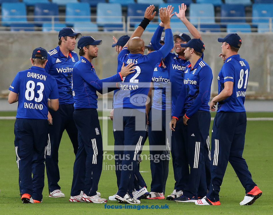 Tymal Mills of England Lions takes the wicket of Shahzaib Hasan of Pakistan A during the International Twenty/20 match at Dubai International Cricket Stadium, Dubai<br /> Picture by Chris Whiteoak-Medcalf/Focus Images Ltd +971 8117530<br /> 10/12/2015