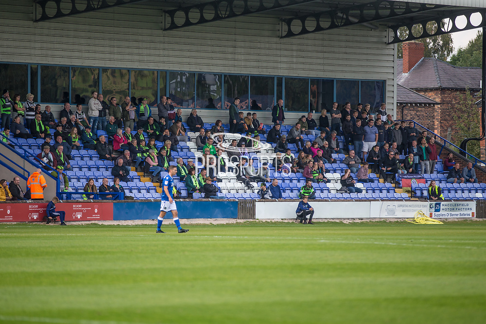 The travelling FGR support during the EFL Sky Bet League 2 match between Macclesfield Town and Forest Green Rovers at Moss Rose, Macclesfield, United Kingdom on 29 September 2018.