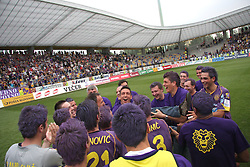 Coach of Maribor Darko Milanic and his players celebrate after last football match of PrvaLiga Telekom Slovenije between NK Maribor and NK Interblock, when Maribor became a Slovenian National Champion, on May 23, 2009, in Ljudski vrt, Maribor. (Photo by Marjan Kelner/Sportida)