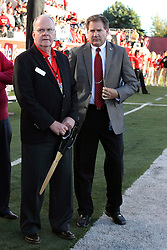 21 September 2013: Illinois State University President Timothy Flanagan and Athletic Director Larry Lyons  during an NCAA football game between the Abilene Christian Wildcats and the Illinois State Redbirds at Hancock Stadium in Normal IL