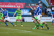 Forest Green Rovers Charlie Cooper(20) shoots at goal misses the target during the FA Trophy match between Macclesfield Town and Forest Green Rovers at Moss Rose, Macclesfield, United Kingdom on 4 February 2017. Photo by Shane Healey.