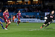 Ipswich Town midfielder Alan Judge (18) takes a shot at goal during the EFL Sky Bet League 1 match between Wycombe Wanderers and Ipswich Town at Adams Park, High Wycombe, England on 1 January 2020.