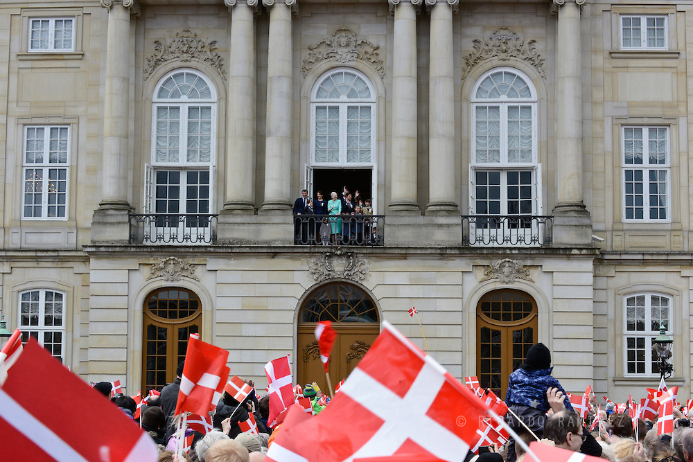 16.04.2015. Copenhagen, Denmark.Queen Margrethe II celebrates her 75th birthday with her whole family, From left to right, Crown Prince Frederik,, Princess Isabella, Crown Princess Mary, Prince Vincent, Prince Christian, Prince Nikolai, Princess Athena held by her father Prince, Prince Felix and Princess Josephine on a balco
