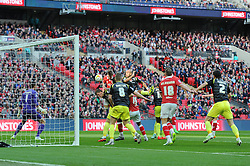 Bristol City's Aden Flint scores the opening goal of the game. - Photo mandatory by-line: Dougie Allward/JMP - Mobile: 07966 386802 - 22/03/2015 - SPORT - Football - London - Wembley Stadium - Bristol City v Walsall - Johnstone Paint Trophy Final