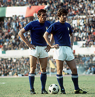 "International Friendly Matchs 1973 / <br /> Italy vs Brazil 2-0 ( Olympic Stadium - Roma , Italy )<br /> Luigi Riva "" Gigi Riva "" (L) and Gianni Rivera of Italy (R) ,<br />  on action during the friendly match"