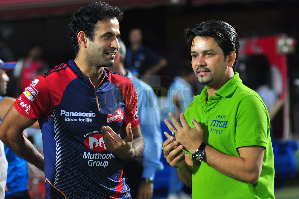 Anurag Thakur with Irfan Pathan Delhi Daredevils  of during match 69 of the the Indian Premier League ( IPL) 2012  between The Kings X1 Punjab and The Delhi Daredevils held at the HPCA Stadium, Dharamsala, on the 19th May 2012..Photo by Arjun Panwar/IPL/SPORTZPICS