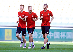 NANNING, CHINA - Tuesday, March 20, 2018: Wales' Chris Mepham, Adam Matthews and Gareth Bale during a training session at the Guangxi Sports Centre ahead of the opening 2018 Gree China Cup International Football Championship match against China. (Pic by David Rawcliffe/Propaganda)