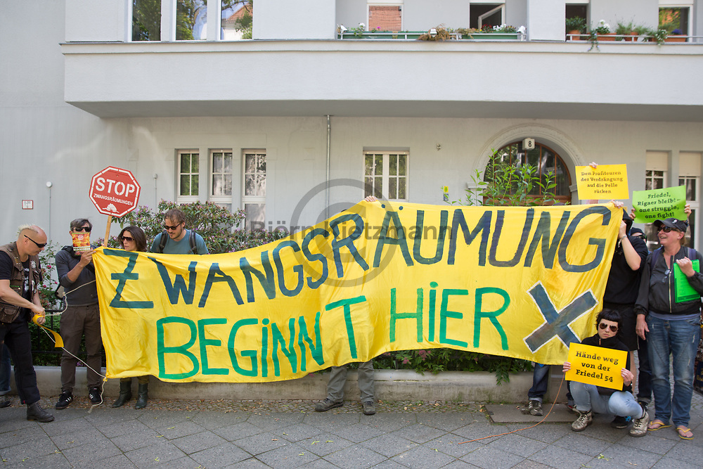 Berlin, Germany - 06.06.2017<br /> <br /> Protest go in at the Secura real estate management company in Berlin-Friedenau. About 20 people protested inside and in front of the office of the real estate company against the imminent eviction of the left project Friedel54, After about 15 minutes, the demonstrators ended the protest.<br /> <br /> Protest go in bei der Secura Grundstuecksverwaltungsgesellschaft in Berlin-Friedenau. Etwa 20 Personen protestierten vor und in den Raeumen der Immobilienfirma gegen die drohende Zwangsraeumung den linken Kiezladen Friedel54. Nach etwa 15 Minuten beendeten die Demonstranten den Protest.<br /> <br /> Photo: Bjoern Kietzmann