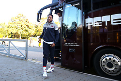 Panos Mayindombe of Bristol Flyers arrives for the pre-season game against Worcester Wolves - Photo mandatory by-line: Robbie Stephenson/JMP - 17/09/2018 - BASKETBALL - University of Worcester - Worcester, England - Worcester Wolves v Bristol Flyers - Pre-season friendly