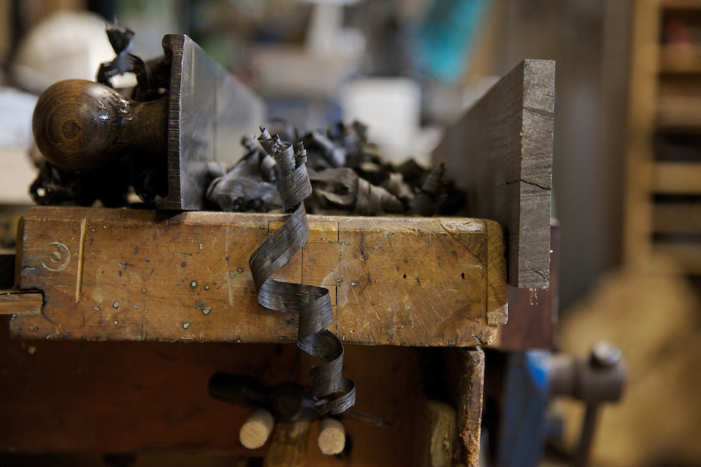 Wood shavings in furniture maker Adrian Swintead's Maulden Woods studio, Bedfordshire<br /> CREDIT: Vanessa Berberian for The Wall Street Journal<br /> GURU-SWINSTEAD