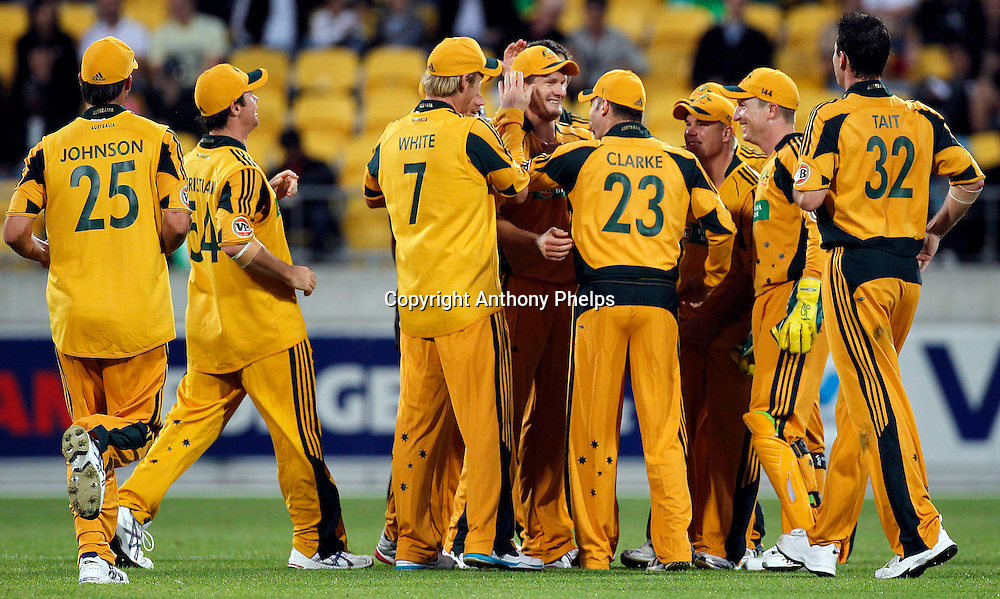 Australia celebrate taking Jacob Orams wicket New Zealand v Australia Twenty20 cricket match. Westpac Stadium, Wellington. Friday 26 February 2010. Photo: Anthony Phelps/PHOTOSPORT