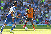 Hull City striker Chuba Akpom on the ball during the Sky Bet Championship match between Brighton and Hove Albion and Hull City at the American Express Community Stadium, Brighton and Hove, England on 12 September 2015. Photo by Phil Duncan.