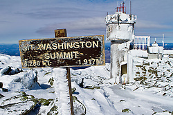 The summit of Mount Washington in March, 2011. New Hampshire's White Mountains.