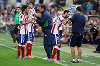 Atletico de Madrid´s second coach `Mono´Burgos, Tiago, Siqueira and Raul garcia during 2014 Supercopa de España `Spain Supercup´ second leg match at Vicente Calderon stadium. August 22, 2014. (ALTERPHOTOS/Victor Blanco)