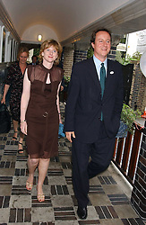 MRS GEORGE OSBORNE and DAVID CAMERON MP at the No Campaign's Summer Party - a celebration of the 'Non' and 'Nee' votes in the Europen referendum in France and The Netherlands held at The Peacock House, 8 Addison Road, London W14 on 5th July 2005.<br />