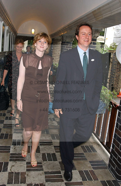 MRS GEORGE OSBORNE and DAVID CAMERON MP at the No Campaign's Summer Party - a celebration of the 'Non' and 'Nee' votes in the Europen referendum in France and The Netherlands held at The Peacock House, 8 Addison Road, London W14 on 5th July 2005.<br /><br />NON EXCLUSIVE - WORLD RIGHTS