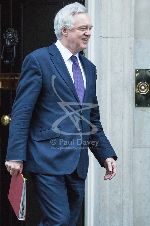 Downing Street, London, November 29th 2016. Secretary of State for Exiting the European Union David Davis leaves 10 Downing Street following the weekly cabinet meeting.