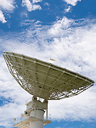Telecommunications dish antenna used for transferring telephone calls and signals over satellite. <br />