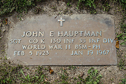 31 August 2017:   Veterans graves in Park Hill Cemetery in eastern McLean County.<br /> <br /> John E Hauptman  Sergeant Co K  130 INF  33 INF DIV  World War II  Bronze Star Medal Purple Heart  Feb 5 1923  Jan 19 1967