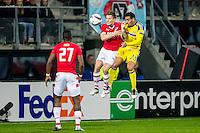 ALKMAAR - 20-10-2016, AZ - Maccabi Tel Aviv, AFAS Stadion, 1-2, AZ speler Mattias Johansson, Maccabi Tel Aviv speler Eyal Golasa