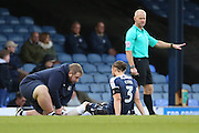 Southend United defender Ben Coker (3) down injured during the EFL Sky Bet League 1 match between Southend United and Bradford City at Roots Hall, Southend, England on 19 November 2016. Photo by Matthew Redman.