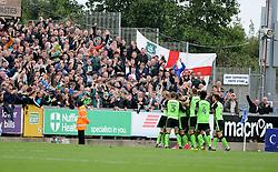 Plymouth Argyle celebrate their equaliser - Mandatory by-line: Neil Brookman/JMP - 30/09/2017 - FOOTBALL - Memorial Stadium - Bristol, England - Bristol Rovers v Plymouth Argyle - Sky Bet League One