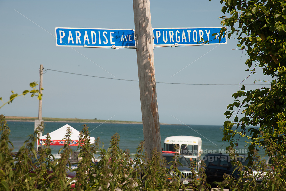Famous street signs, Paradise and Purgatory, at Sachuest beach, Middletown, RI
