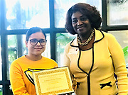 Sam Houston MSTC junior Vanessa Luna Tinoco won the Sofia John STAAR Achievement Award for most improved score on the science STAAR test. Pictured with her is STAAR Committee President Sherry Tate John.