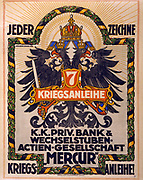 World War I 1914-1918:  Poster of 1917 showing the Austro-Hungarian double-headed eagle. Text says 'Everyone subscribe to the 7th War Loan.