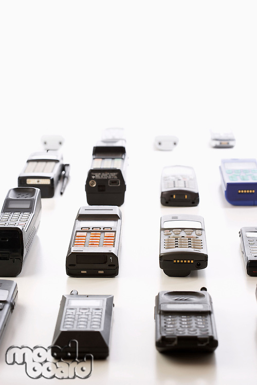 Rows of Old Cell Phones