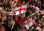 England fans during the U21 UEFA EURO first qualifying round match between England and Scotland at the Riverside Stadium, Middlesbrough, England on 6 October 2017. Photo by Paul Thompson.