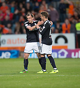August 9th 2017, Dens Park, Dundee, Scotland; Scottish League Cup Second Round; Dundee versus Dundee United; Dundee's Paul McGowan celebrates after putting Dundee 2-1 ahead with Scott Allan