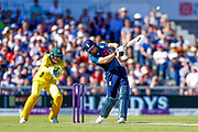 England ODI wicket keeper Jos Butler hits a huge six to go to bis 100, century, during the 5th One Day International match between England and Australia at Old Trafford, Manchester, England on 24 June 2018. Picture by Simon Davies.