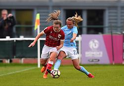 Lauren Hemp of Bristol City Women battles former Bristol team-mate Claire Emslie of Manchester City Women - Mandatory by-line: Paul Knight/JMP - 03/05/2018 - FOOTBALL - Stoke Gifford Stadium - Bristol, England - Bristol City Women v Manchester City Women - FA Women's Super League 1